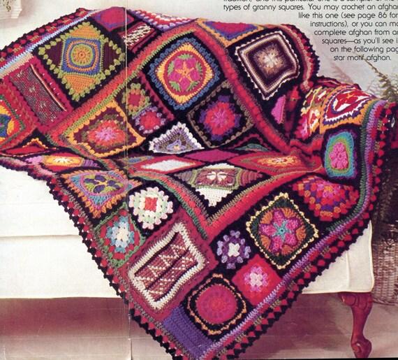 Free Crochet Pattern For Granny Square Sampler : Granny Square Sampler Blanket PATTERN Vintage 1970s Crochet