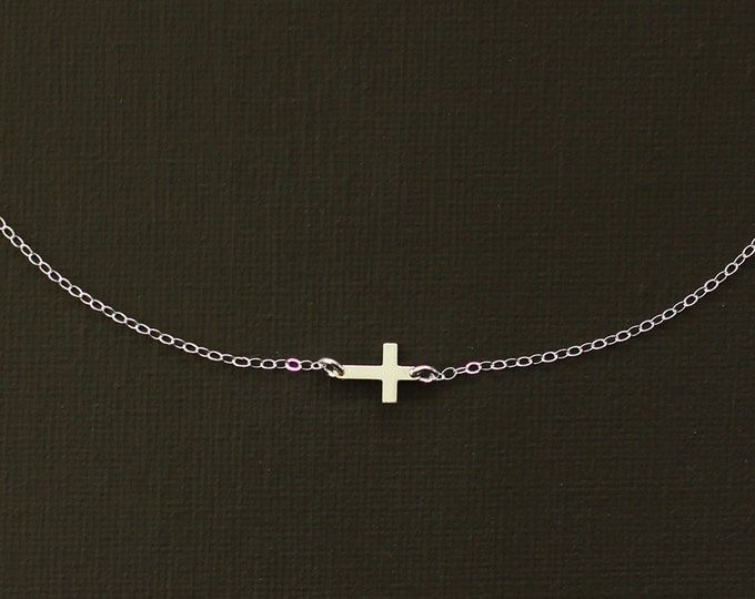 Sideways Silver Cross Necklace - Sterling Silver