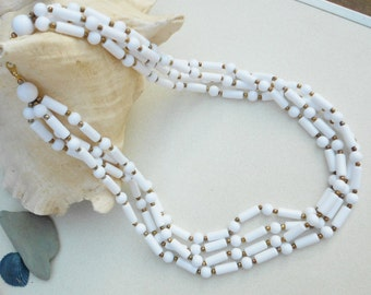 Vintage white 1960s necklace multiple strands of acrylic tubular beads with brass bead spacers Wedding