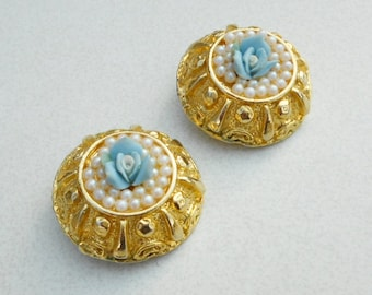 Vintage earrings blue porcelain roses and seed pearls on fancy gold metal clip on