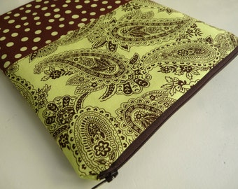 iPad Case - iPad Sleeve -  iPad Cover -  iPad 2 Sleeve - iPad 3 Sleeve - iPad 4 Sleeve - Zipped iPad Sleeve - Brown/Lime Paisley