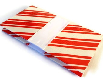 Christmas Business Card Case Duck Tape Candy Cane Patterned Wallet