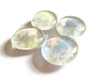 CLEARANCE Glass Marble Magnets Large Pastel Flowers Set of 4