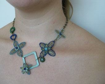 OOAK Delicate blue and green toned embroided neckalce