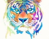 Colorful Tiger Art Print - Gifts - Rainbow - Cute - Animals - Wild