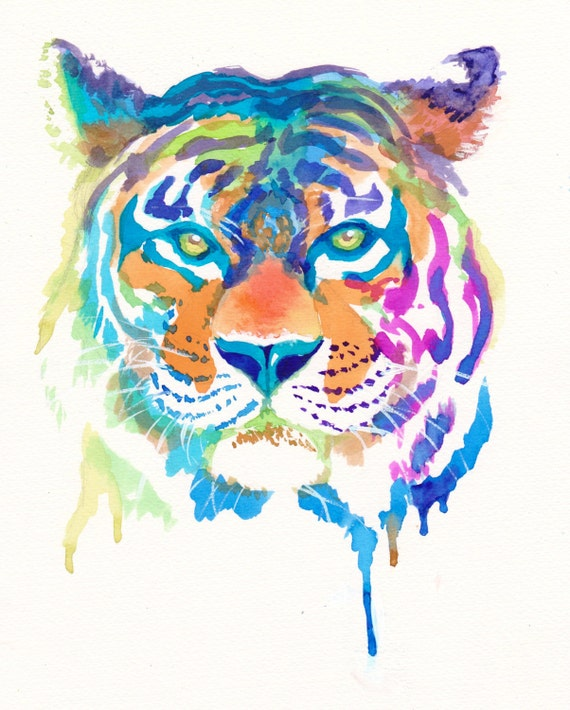 Colorful Tiger Art Print Gifts Rainbow Cute Animals Wild