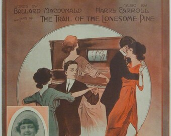 """Antique Vintage 1913 Sheet Music  """"Let's All Go Around To Mary Ann's""""  11 x 14"""