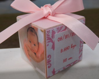 Baby's First Christmas Ornament - Photo Ornament- Personalized Baby Girl Ornament- Photo Block