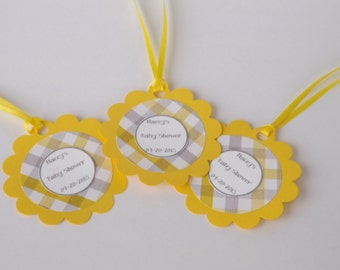 Baby Shower Favor Tags- Personalized Favor Tags- Wedding, Birthday, Party Favor Tags- Yellow and Gray Tags-SET OF 25