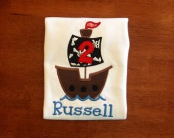 Pirate Birthday Shirt-pirate ship birthday-birthday shirt-boy girl pirate birthday-ship birthday