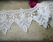 Ivory Lace Trim, Venice Applique Lace for Bridal, Costumes, Headbands, Sashes, Sewing, Crafts LA-003
