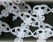 White Venice Bridal Embroidered Fabric Applique Craft Lace Trim LA-090