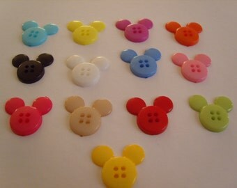 Set of 10 - Lovely Cute Novelty - Mickey Mouse Head - Buttons - 4 Hole - 20 mm - Plastic - Various Colours