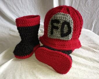 Crocheted Fireman Hat & Boots Set