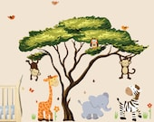 African Tree with Jungle Animals Wall Decal, Wall Stickers, Repositionable Fabric (African Tree Safari Sunset)