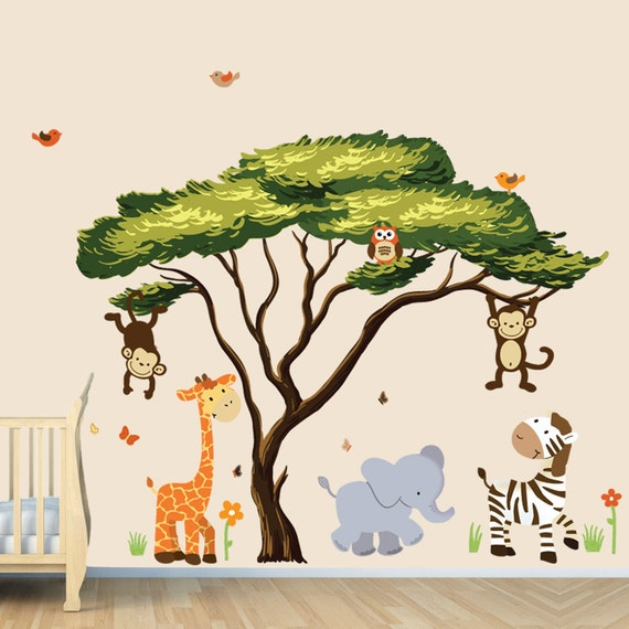 African tree with jungle animals wall decal wall stickers for Baby jungle safari wall mural
