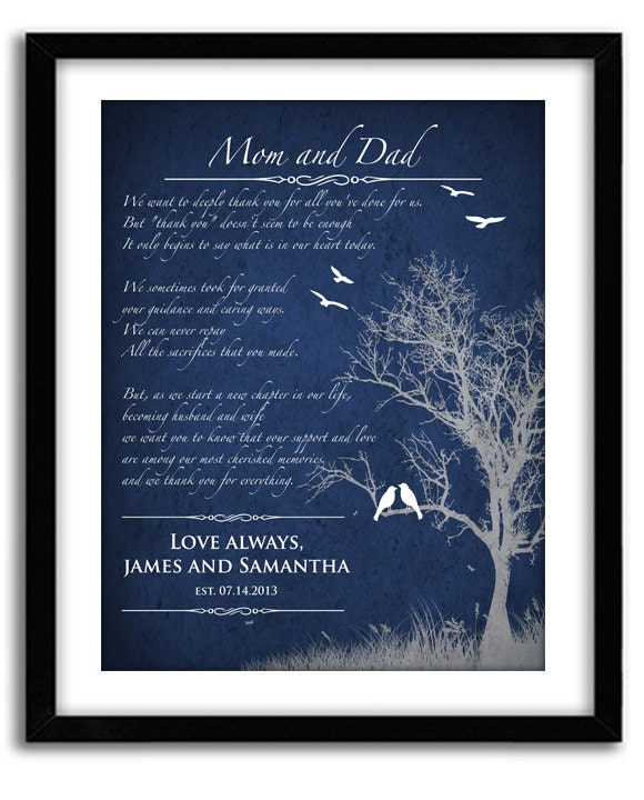 Wedding Gifts From Parents To Bride And Groom: Wedding Gift For Parents From Bride And Groom Personalized