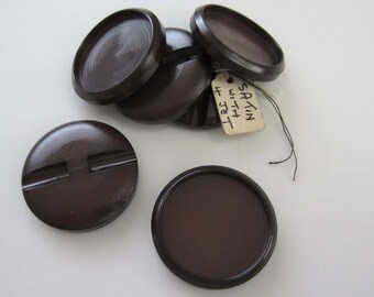 Set of 6 Large Brown Cupped Plastic Buttons - Salvaged