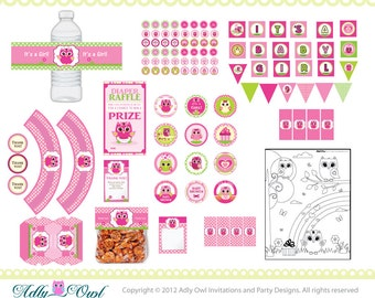 Pink Owl Baby Girl Shower Printable Party Kit with girl baby owls - ONLY digital file - you print