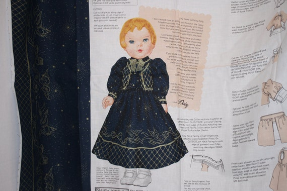"Daisy Kingdom golden angel daisy dolly dress and vest pattern panel 17"" - 19"" doll"