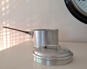 Cool vintage utilitarian aluminium and brass lidded pan