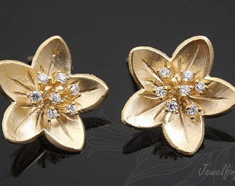 K850-Matt Gold palted-10 pairs-Flower