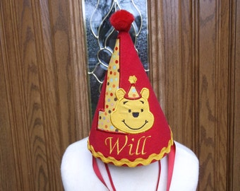 Boys First Birthday Party Hat -  Loveable Winnie The Pooh Hat - Free Personalization -