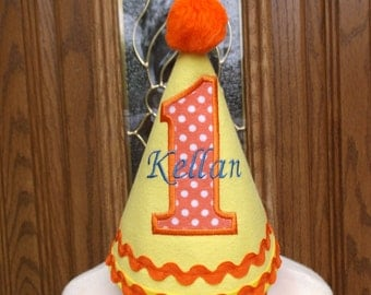 Boys First Birthday Party Hat -Yellow & Orange 1st Birthday Hat - Birthday Day - Free Personalization