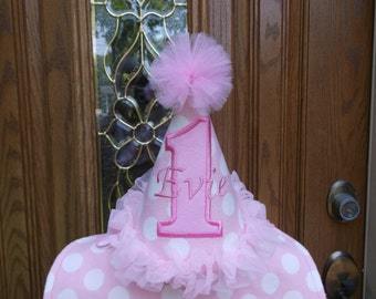 Girls First Birthday Hat - Pink & White Polka Dots Party Hat  - Free Personalization