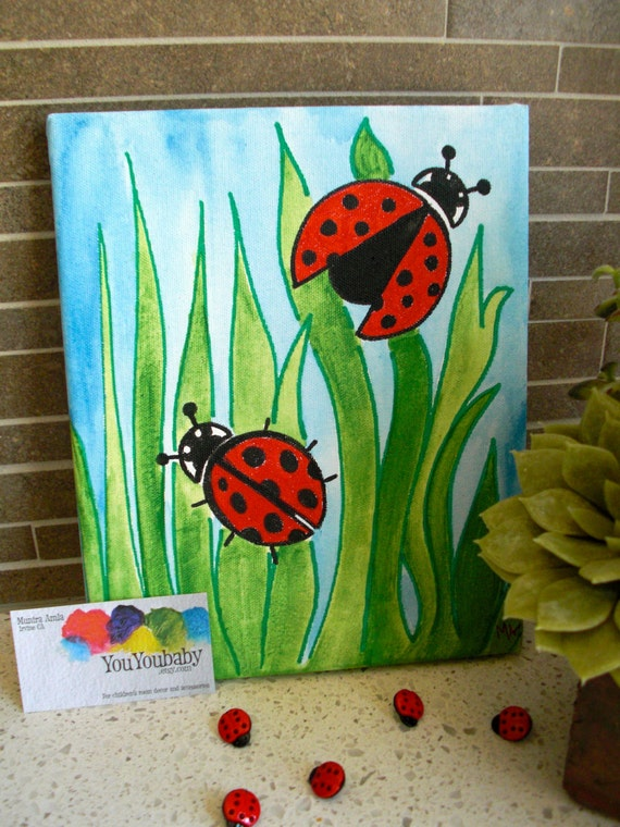 Items similar to 8 x 10 original acrylic painting for Childrens canvas ideas