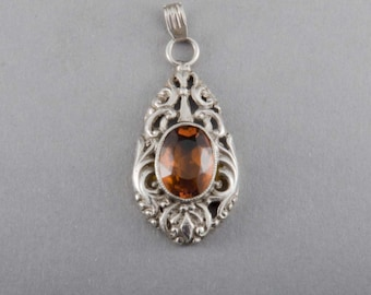 Vintage Pendant Silver Synthetic Stone Fine Jewelry