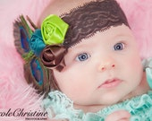 Peacock Headband, brown lace headband with peacock feathers and matching rosettes.