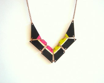 Black & Neon Geometric Necklace, Wood Triangles Bib,Wood Tribal Necklace,Geometric Jewelry