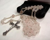 Pale Baby Pink Rose Quartz Rosary with Handmade Chain