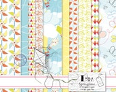 "Springtime - Digital Scrapbook Paper Pack  - 10 Digital Papers 11"" x 8.5""/300 dpi - jpeg files"