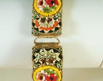 Vintage Wide Micro Mosaic Bracelet, Yellow Flower Micromosaic