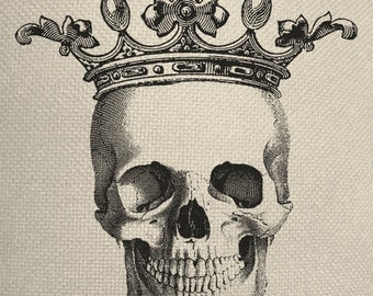 Skull With Small Crown Engraving  Digital Collage Graphic Fabric Transfer Tote Bag Iron On Digital Download No. 241