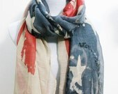 Vintage American Flag Scarf, Cute Star Bangled Banner, Forth of July, July 4th, Red and Blue Star, Flag, Independence Day, Christmas Gift