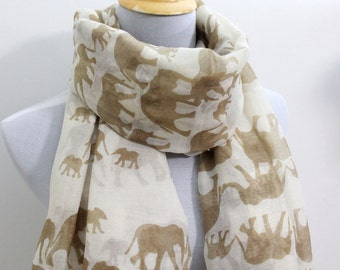 Khaki Elephant Scarf Light Brown Scarf with White Elephant Scarf