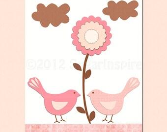 Pink love birds  nursery Art Print, 8x10, kids Room Decor, baby Wall Art - Pink and brown, love birds, flowers