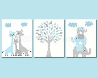 Baby blue and grey Nursery Art Print Set, 8x10, Kids room Decor, aqua, baby/Wall Art - giraffe family, elephant family, love tree