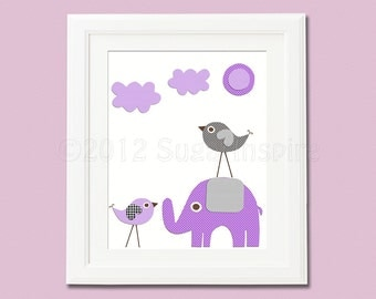 purple and grey  love birds Nursery Art,  nursery room decor,  8x10, kids room decor, nursery wall decor, elephant, love bird