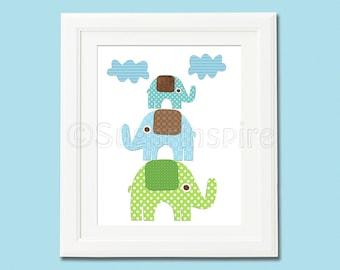 blue and green elephant nursery Art Print, 8x10, Kids Room Decor, Baby / Children Wall Art, green, blue, brown, skip hop elephant parade
