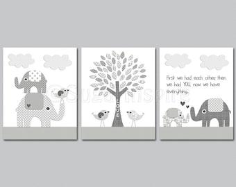 Grey elephant Nursery Art Print Set, 8x10, Kids Room Decor - Elephant family, love birds, love tree, grey and white