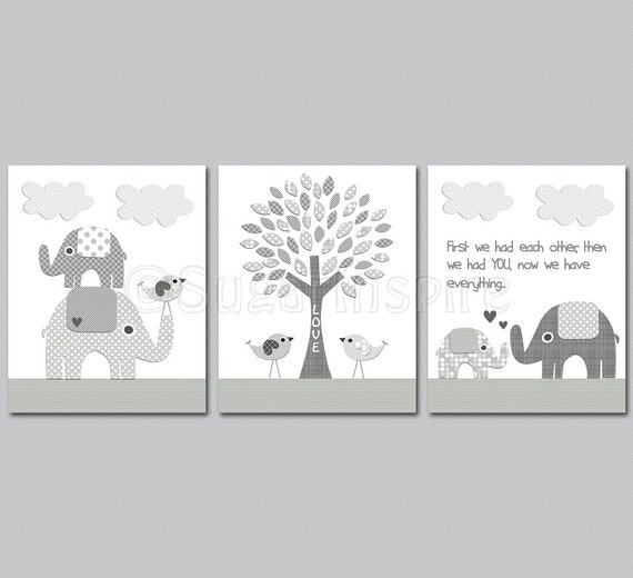 Grey Elephant Nursery Art Print Set 8x10 Kids Room Decor