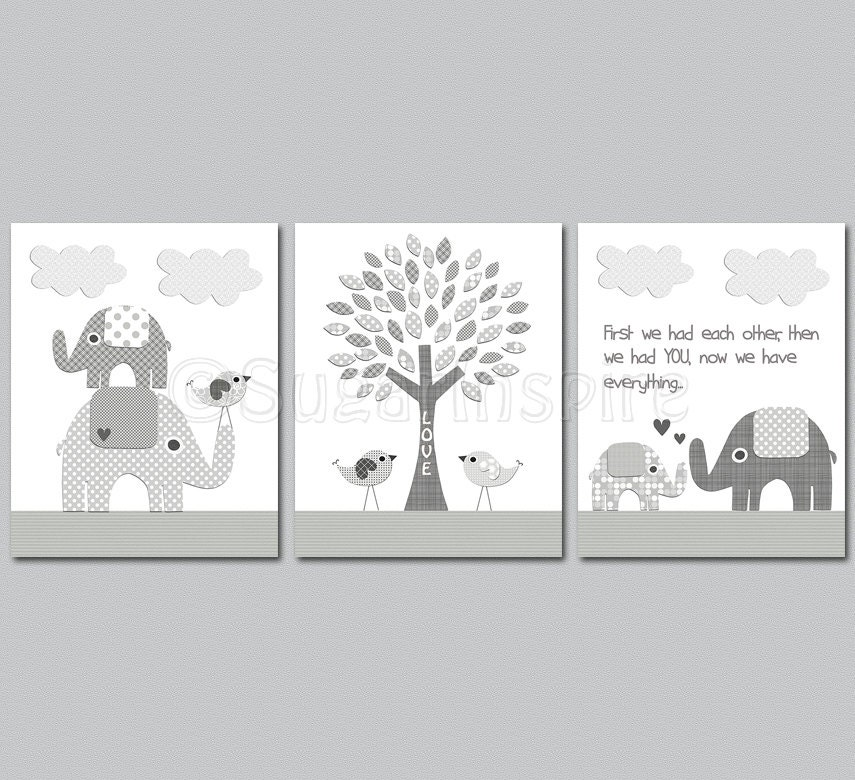 Grey elephant nursery art print set 8x10 kids room decor for Elephant mural nursery