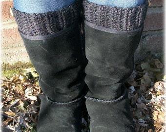Chunky Boot Socks , Boot Cuffs , Gray Leg Warmers , Knit Boot Warmers