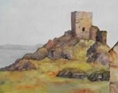 "Limited Edition Art Print, Irish Landscape. ""Carrickabraghey Castle"" Donegal, Ireland. Irish Heritage."