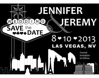 Elegant Las Vegas Themed Wedding Save the Date-Custom Colors