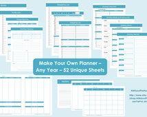 Printable Planner - Personalised Diary Planner -Agenda-2013-2014 Any Year-Build Your Own Planner-Weekly Planner-Day Planner -Product 437